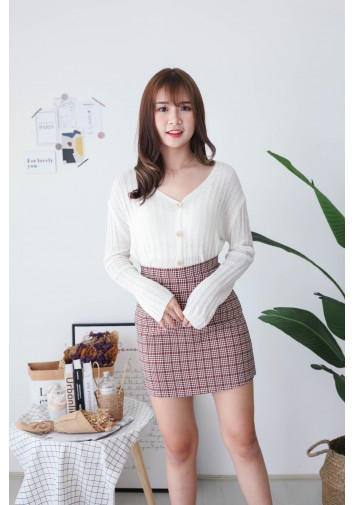 Korea Crochet Hollow Shell Button Front Long Sleeve Short Knit Top (White) - BACKORDER ETA 02 DEC