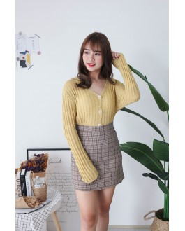 Korea Crochet Hollow Shell Button Front Long Sleeve Short Knit Top (Mustard)