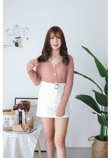 Korea Crochet Hollow Shell Button Front Long Sleeve Short Knit Top (Nude Pink)