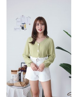 Korea V Neck Button Front Back With Ribbon Blouse (Green)