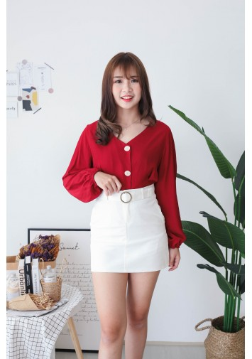 Korea V Neck Button Front Back With Ribbon Blouse (Maroon) - BACKORDER ETA 02 DEC