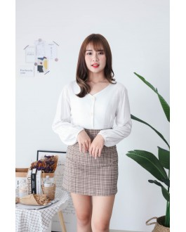Korea V Neck Button Front Back With Ribbon Blouse (White)