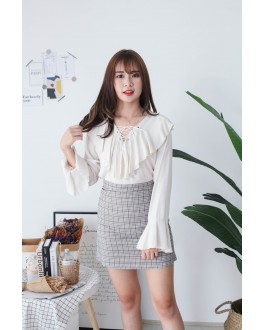 Korea Lace Up Long Sleeve Blouse (Khaki)