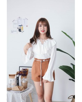 Korea Lace Up Long Sleeve Blouse (White)