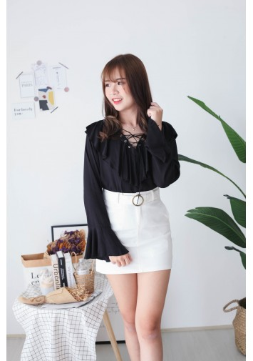 Korea Lace Up Long Sleeve Blouse (Black)
