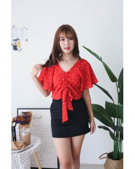 Korea Love Lace Up Top (Red)