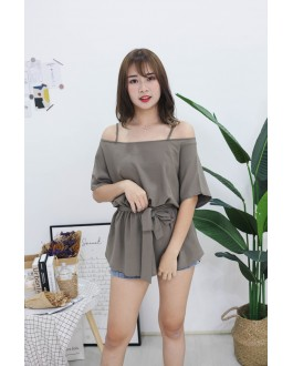 Korea Strap Tie Cold Shoulder Long Top (Green)