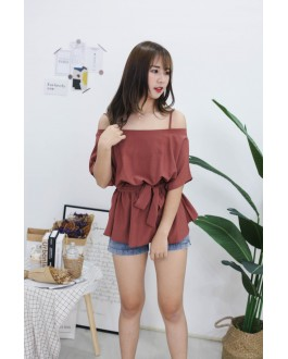 Korea Strap Tie Cold Shoulder Long Top (Brick)