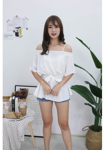 Korea Strap Tie Cold Shoulder Long Top (White)