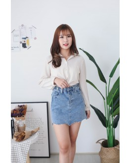 Korea Button High Waist Denim Skirt (Blue)