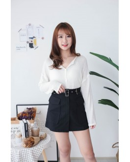Korea Pocket With Belt High Waist Skirt (Black)