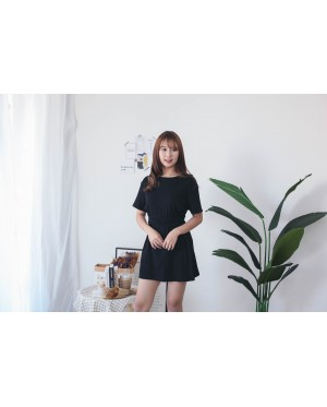 Korea Basic Cross Waist Tie Elastic Dress (Black) - BACKORDER ETA 16 DEC