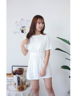 Korea Basic Cross Waist Tie Elastic Dress (White)