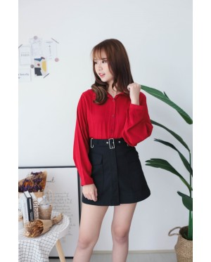 Korea Button Front V Collar Self Tie Waist Strap Long Sleeve Blouse (Maroon)