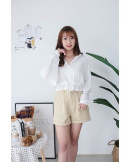 Korea Button Front V Collar Self Tie Waist Strap Long Sleeve Blouse (White)