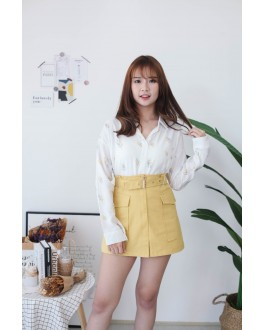 Korea Cute Leaf V Collar Oversize Long Sleeve Blouse (Yellow)