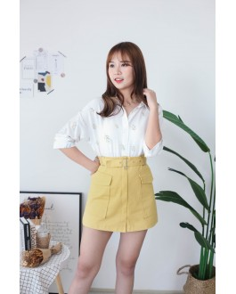 Korea Cute Leaf V Collar Oversize Short Sleeve Blouse (Yellow)