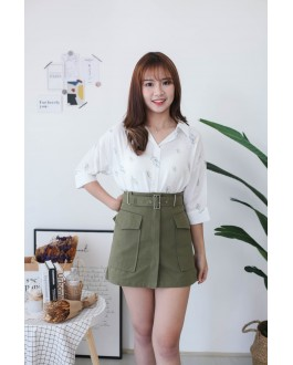 Korea Cute Leaf V Collar Oversize Short Sleeve Blouse (Green)