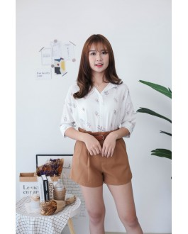 Korea Cute Leaf V Collar Oversize Short Sleeve Blouse (Brown)