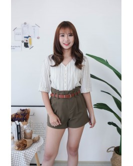 Korea Stripe Button Front Slef Tie Ribbon Top (Beige)