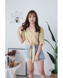 Korea Stripe Button Front Slef Tie Ribbon Top (Mustard)