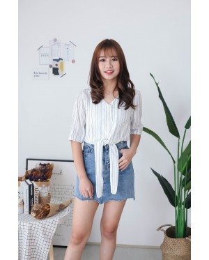 Korea Stripe Button Front Slef Tie Ribbon Top (White) - BACKORDER ETA 16 DEC