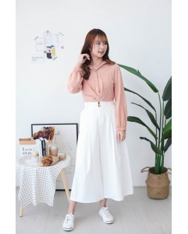 Korea Knot Rubber Waist Long Sleeve Blouse (Brown)