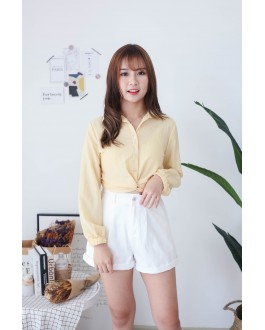 Korea Knot Rubber Waist Long Sleeve Blouse (Yellow)