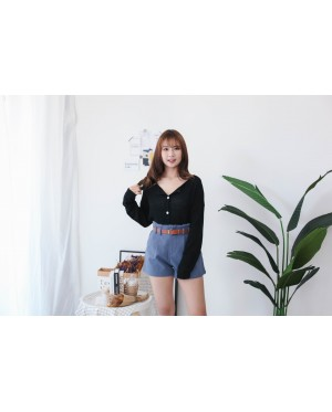 Korea Button Front Ribbon Tie Long Sleeve Knit Top (Black)