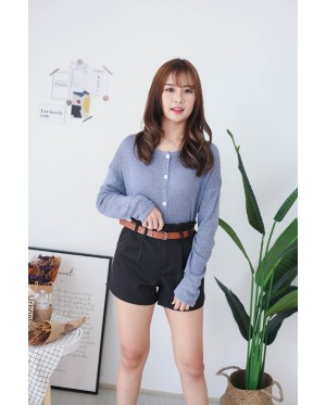 Korea Button Front Ribbon Tie Long Sleeve Knit Top (Blue)