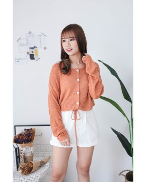 Korea Button Front Ribbon Tie Long Sleeve Knit Top (Brown)