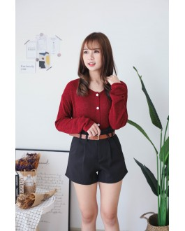Korea Button Front Ribbon Tie Long Sleeve Knit Top (Maroon) - BACKORDER ETA 16 DEC