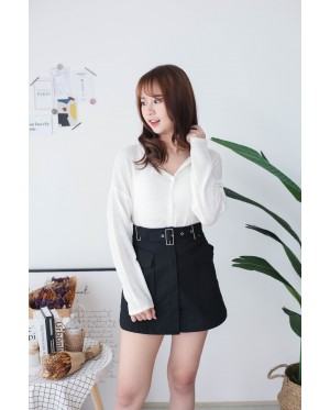 Korea Button Front Ribbon Tie Long Sleeve Knit Top (White)