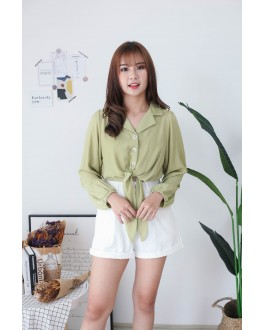 Korea V Collar Button Front Self Tie Ribbon Blouse (Green)