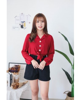 Korea V Collar Button Front Self Tie Ribbon Blouse (Maroon) - BACKORDER ETA 16 DEC
