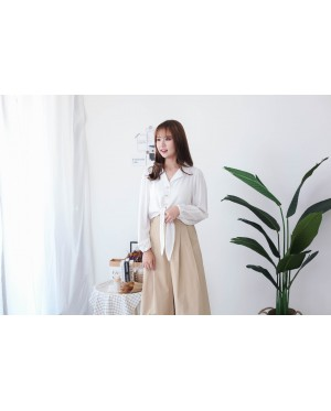 Korea V Collar Button Front Self Tie Ribbon Blouse (White) - BACKORDER ETA 16 DEC