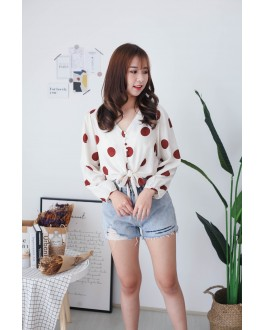 Korea Polka Dot Button Front Ribbon Tie Long Sleeve Top (Brick) - BACKORDER ETA 16 DEC