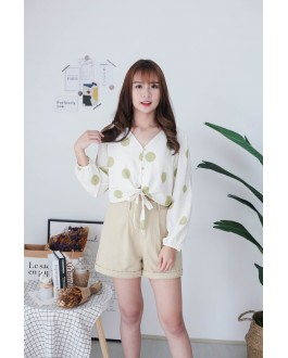 Korea Polka Dot Button Front Ribbon Tie Long Sleeve Top (Green) - BACKORDER ETA 16 DEC