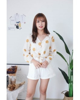 Korea Polka Dot Button Front Ribbon Tie Long Sleeve Top (Mustard)