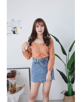 Korea Checks Rubber Waist Long Sleeve Top (Mustard)