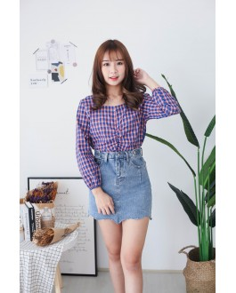 Korea Checks Rubber Waist Long Sleeve Top (Blue)