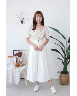 Korea Flora Square Neck Button Front Short Sleeve Top (Beige)
