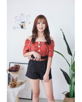 Korea Flora Square Neck Button Front Short Sleeve Top (Brown)