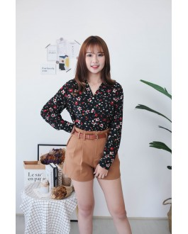 Korea Flower Button Front Long Sleeve Chiffon Blouse (Black)