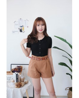 Korea Lace Style V Collar Button Front Short Sleeve Knit Top (Black)