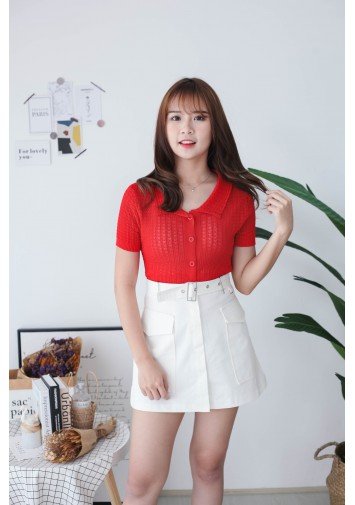 Korea Lace Style V Collar Button Front Short Sleeve Knit Top (Red)
