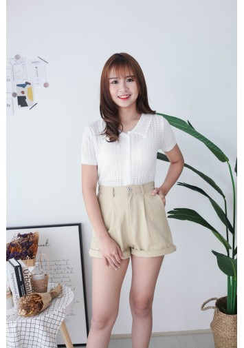 Korea Lace Style V Collar Button Front Short Sleeve Knit Top (White)