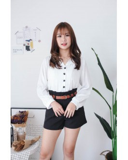 Korea Button Front V Collar Long Sleeve Blouse (White)