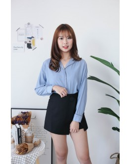 Korea Stripe Trim Long Sleeve Blouse (Blue)