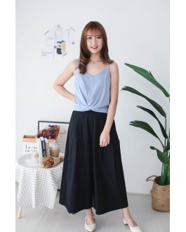 Korea Knot  V Neck Adjustable Strap Sleeveless Top (Blue)